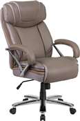 Flash HERCULES Series Big & Tall 500 lb. Rated Taupe Leather Executive Swivel Chair with Extra Wide Seat - GO-2092M-1-TP-GG