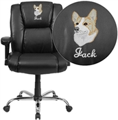 Flash Embroidered HERCULES Series Big & Tall 400 lb. Rated Black Leather Swivel Task Chair with Adjustable Arms - GO-2132-LEA-EMB-GG