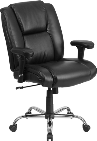 Flash HERCULES Series Big & Tall 400 lb. Rated Black Leather Swivel Task Chair with Adjustable Arms - GO-2132-LEA-GG