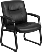 Flash HERCULES Series Big & Tall 500 lb. Rated Black Leather Executive Side Reception Chair with Sled Base - GO-2136-GG