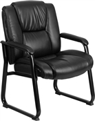 Flash HERCULES Series Big & Tall 500 lb. Rated Black Leather Executive Side Reception Chair with Sled Base - GO-2138-GG