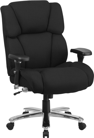 Flash HERCULES Series 24/7 Intensive Use Big & Tall 400 lb. Rated Black Fabric Executive Swivel Chair with Lumbar Knob - GO-2149-GG]