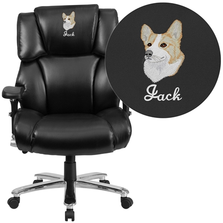 Flash Embroidered HERCULES Series 24/7 Intensive Use Big & Tall 400 lb. Rated Black Leather Executive Swivel Chair with Lumbar Knob - GO-2149-LEA-EMB-GG