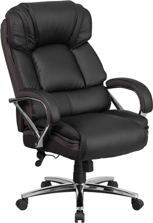 Flash HERCULES Series Big & Tall 500 lb. Rated Black Leather Executive Swivel Chair with Chrome Base and Arms - GO-2222-GG