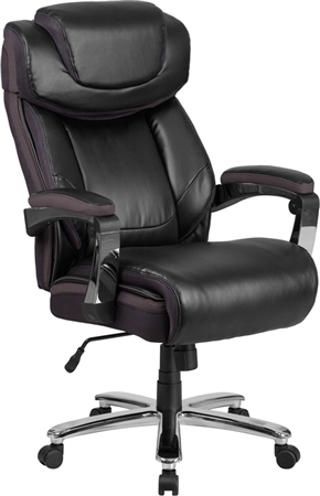 Flash HERCULES Series Big & Tall 500 lb. Rated Black Leather Executive Swivel Chair with Height Adjustable Headrest - GO-2223-BK-GG