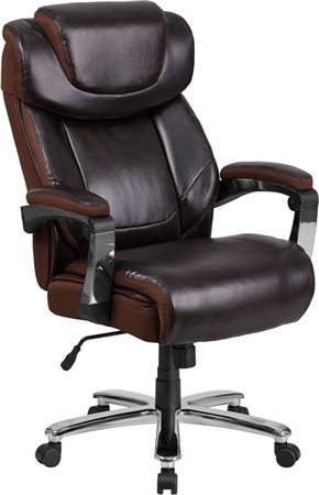 Flash ERCULES Series Big & Tall 500 lb. Rated Brown Leather Executive Swivel Chair with Height Adjustable Headrest - GO-2223-BN-GG