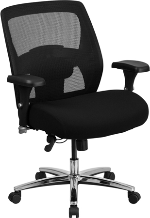 Flash HERCULES Series 24/7 Intensive Use Big & Tall 500 lb. Rated Black Mesh Executive Swivel Chair with Ratchet Back - GO-99-3-GG