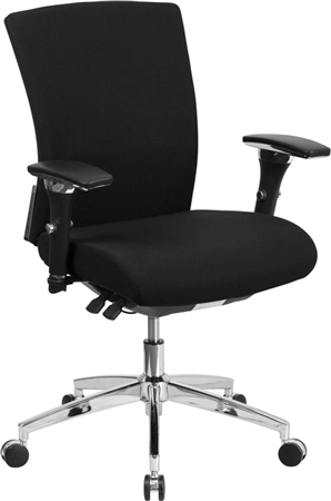 Flash HERCULES Series 24/7 Intensive Use 300 lb. Rated Black Fabric Multifunction Executive Swivel Chair with Seat Slider - GO-WY-85-6-GG