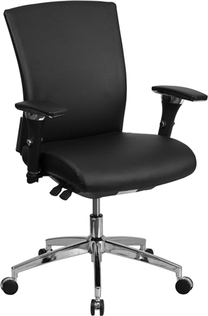 Flash HERCULES Series 24/7 Intensive Use 300 lb. Rated Black Leather Multifunction Executive Swivel Chair with Seat Slider - GO-WY-85-7-GG
