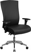 Flash HERCULES Series 24/7 Intensive Use 300 lb. Rated Black Leather Multifunction Executive Swivel Chair with Seat Slider - GO-WY-85H-1-GG