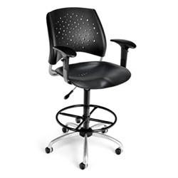 OFM Stars Swivel Plastic Chair with Arms and Drafting Kit