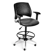 OFM Stars Swivel Vinyl Chair with Arms and Drafting Kit