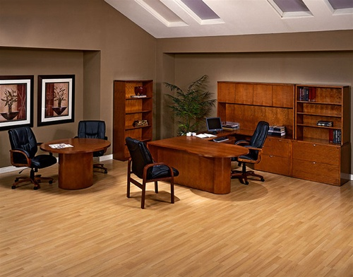 Warm Cherry Executive Desk Home Office Collection: Kenwood Cherry Wood Executive Desk Collection By Office