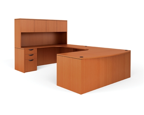 offices to go u shaped executive bowfront desk with computer corner desk extension and hutch. Black Bedroom Furniture Sets. Home Design Ideas