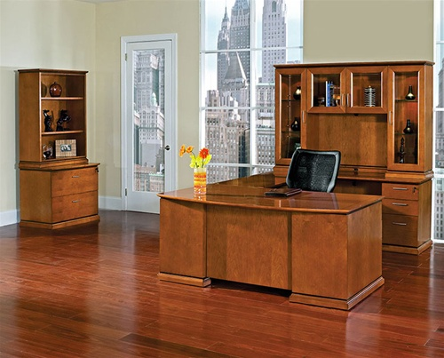 Office Star Mendocino Cherry Wood Furniture Executive Desks