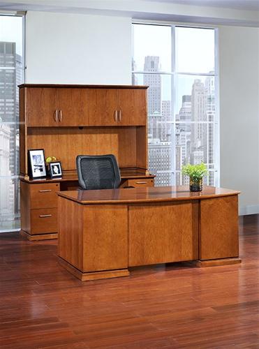 Warm Cherry Executive Desk Home Office Collection: Mendocino Cherry Wood Desk Collection By Office Star