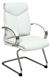 Deluxe Mid-Back Executive Leather Visitors Chair with Chrome Finish Base