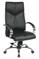 Deluxe High-Back Executive Leather Chair with Chrome Finish Base