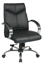 Deluxe Mid-Back Executive Leather Chair with Chrome Finish Base