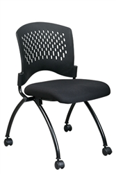 Deluxe Armless Folding Chair with Plastic Back, Casters and Titanium Finish