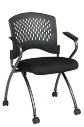 Deluxe Folding Chair with Plastic Back, Casters and Titanium Finish