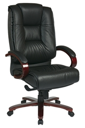 Deluxe High-Back Executive Leather Chair with Mahogany Finish Base