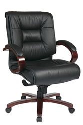Deluxe Mid-Back Executive Leather Chair with Mahogany Finish Base