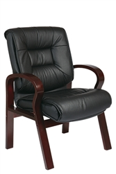 Deluxe Mid-Back Executive Leather Visitors Chair with Mahogany Finish Base