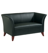 Officer Star Black Faux Leather Loveseat Chair