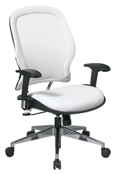 White Vinyl Managers Chair with Polished Aluminum Finish Base