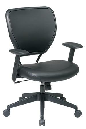 Black Vinyl Over Air Grid Back Managers Chair With Seat