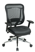 Executive High Back Chair with Breathable Mesh Back and Leather Seat