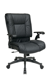 Deluxe Black Top Grain Leather Conference Chair
