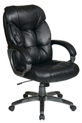 Executive Leather Chair with Coated Finish Base and Arms
