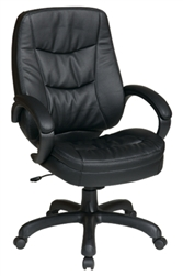 Deluxe High Back Executive Eco Leather Chair with Pillow Top Seat and Back and Padded Arms