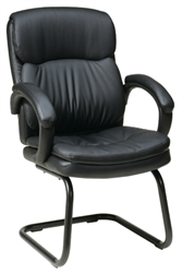 Eco Leather Visitors Chair with Padded Arms and Sled Base