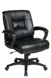 Deluxe Mid Back Leather Chair with Padded Loop Arms