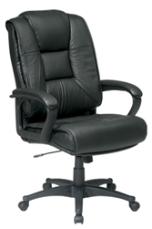 Deluxe High Back Executive Leather Chair with Padded Loop Arms