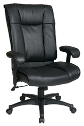 Deluxe High Back Executive Leather Chair with Pillow Top Seat and Back