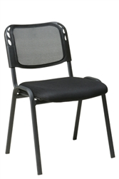 Armless Stacking Chair with Black Mesh Screen Back, Mesh Seat and Black Frame