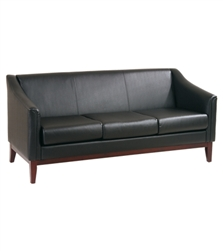 Black Vinyl Sofa with Mahogany Finish Frame