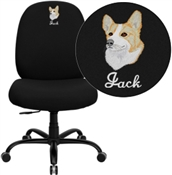 Flash Embroidered HERCULES Series Big & Tall 400 lb. Rated Black Fabric Executive Swivel Chair - WL-715MG-BK-EMB-GG