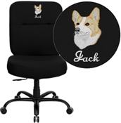Flash Embroidered HERCULES Series Big & Tall 400 lb. Rated Black Fabric Executive Swivel Chair - WL-735SYG-BK-EMB-GG