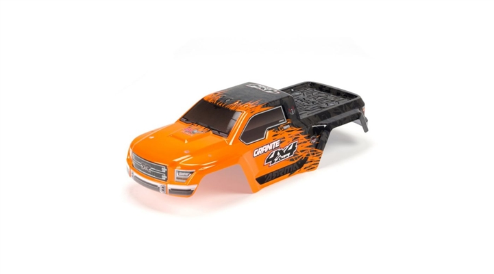 Arrma Painted Body with Decal Trim, Orange: Granite 4x4 BLX (ARAC3332) AR402208