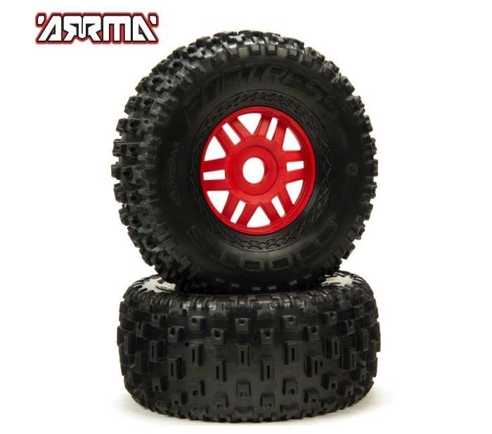 DBOOTS 'Fortress' Tire Set Glued (Red) (2pcs) ARA550065