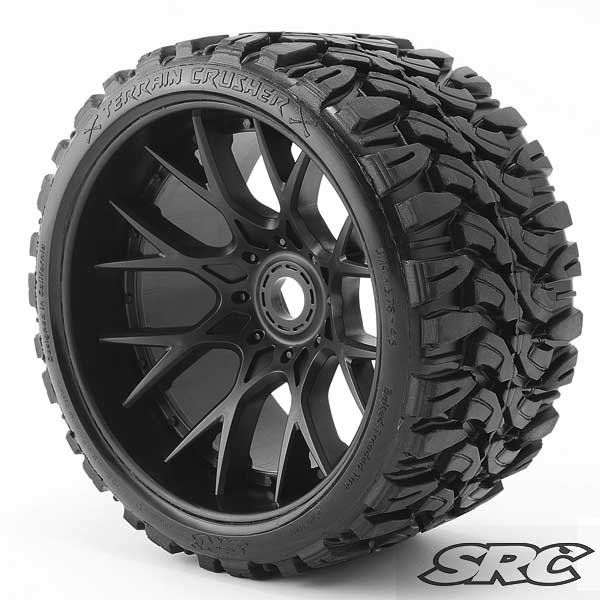 Monster Truck Terrain Crusher Belted tire Pre-Glued on WHD Black wheel (2)