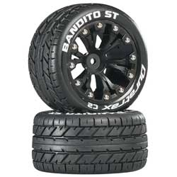 "DuraTrax Bandito ST 2.8"" Mounted 2WD Rear Truck Tires (Black) (2) , DTXC3542"