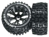 "Duratrax 2.8"" Lockup Monster Truck Tires mounted, Black 2WD Front"