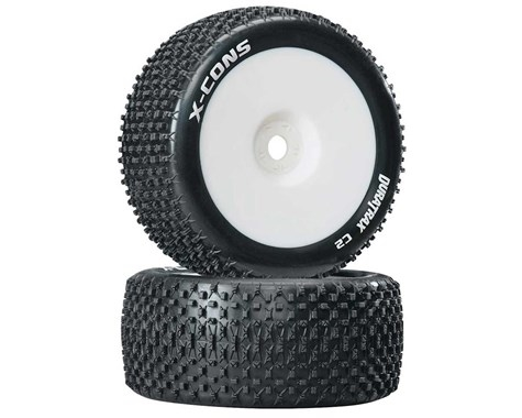 DuraTrax X-Cons 1/8 Mounted Truggy Tire (White) (2) (Zero Offset) w/17mm Hex - DTXC3660