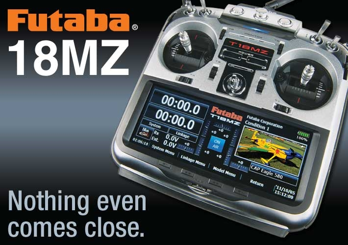 Futaba 18MZA WC	(Airplane Mode 2) FASSTest, FASST, S-FHSS & T-FHSS	2.4GHz, FUTK9542